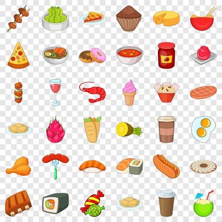 Prepared dish icons set, cartoon style