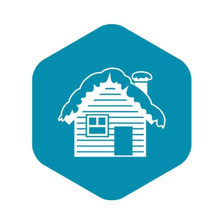 Wooden house covered with snow icon, simple style