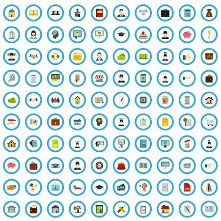 100 lending guidance icons set, flat style Archivio Fotografico - 119254980