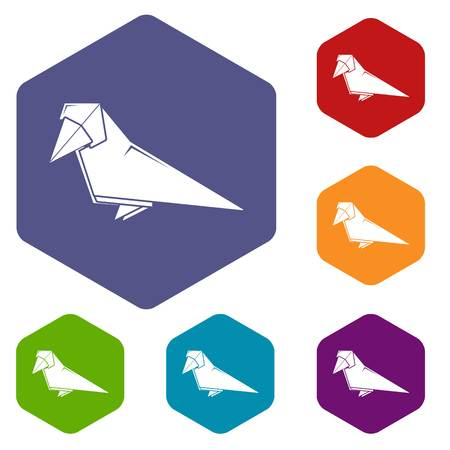 Origami bird icons vector hexahedron