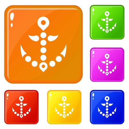 Points anchor icons set vector color