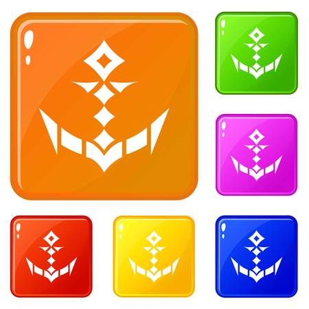Trendy anchor icons set vector color