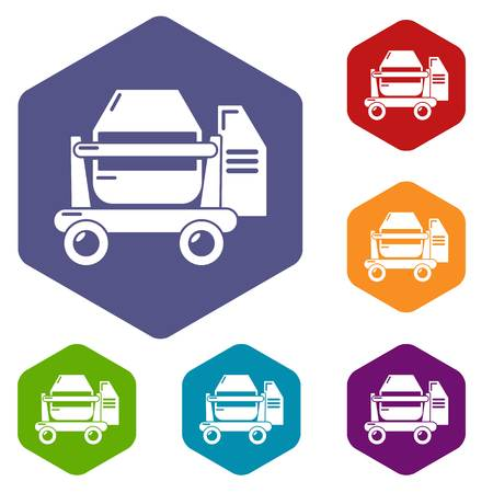 Concrete mixer icons vector hexahedron