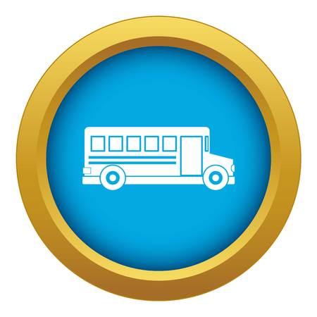 School bus icon blue vector isolated