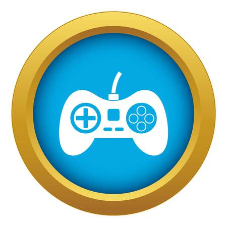 Video game console controller icon blue vector isolated