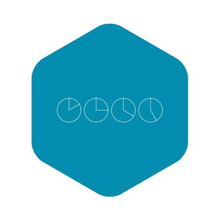Four circle pie diagrams icon, outline style Illustration
