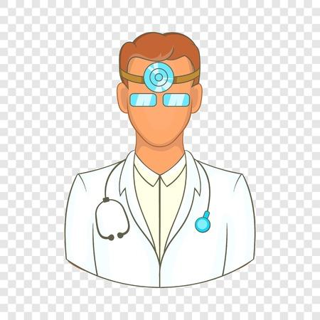 Doctor with stethoscope icon, cartoon style Illustration