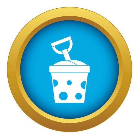 Toy bucket and shovel icon blue vector isolated