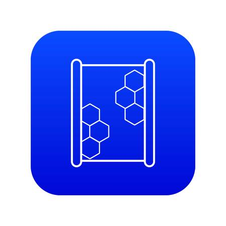 Honeycomb on wood icon blue vector