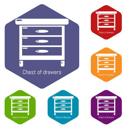Nightstand icons vector hexahedron