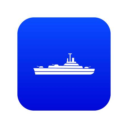 Warship icon digital blue for any design isolated on white vector illustration Illustration