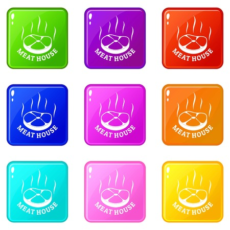 Meat house eco icons set 9 color collection isolated on white for any design