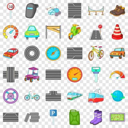 Traffic icons set, cartoon style