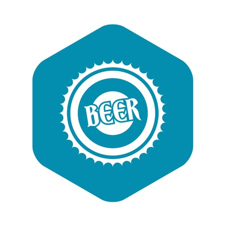 Beer bottle cap icon, simple style