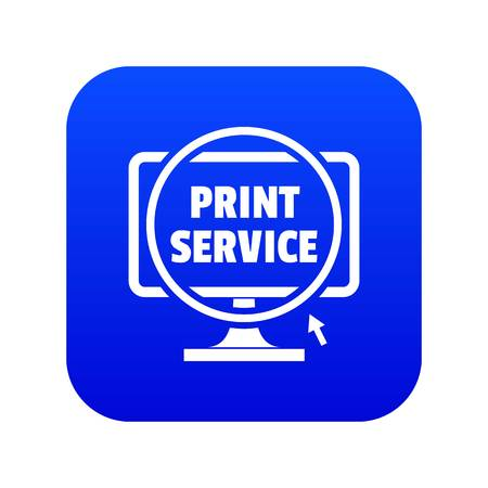 Print service icon blue vector isolated on white background