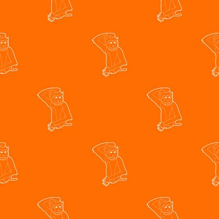 Brooding monkey pattern vector orange for any web design best
