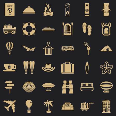 Travel in summer icons set. Simple style of 36 travel in summer vector icons for web for any design