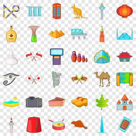 Landmark icons set. Cartoon style of 36 landmark vector icons for web for any design