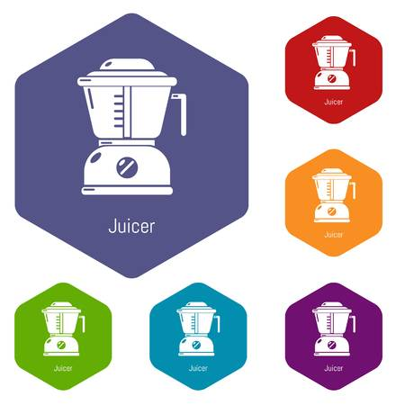 Juicer icons vector colorful hexahedron set collection isolated on white