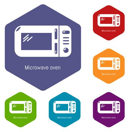 Microwave icons vector hexahedron