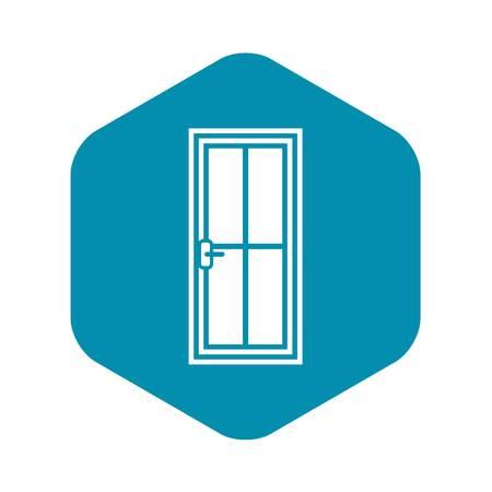 Glass door icon, simple style
