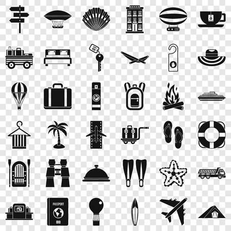 Travel luggage icons set, simple style