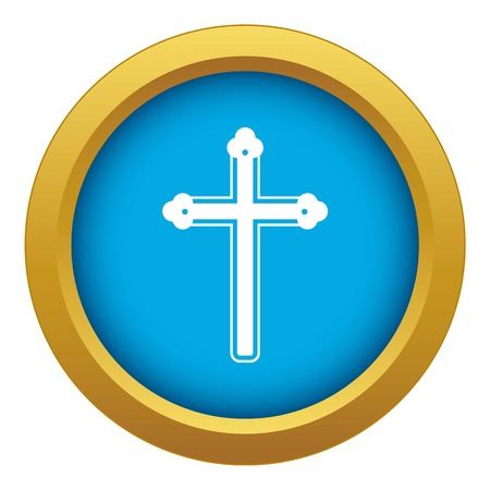Holy cross icon blue vector isolated Vetores