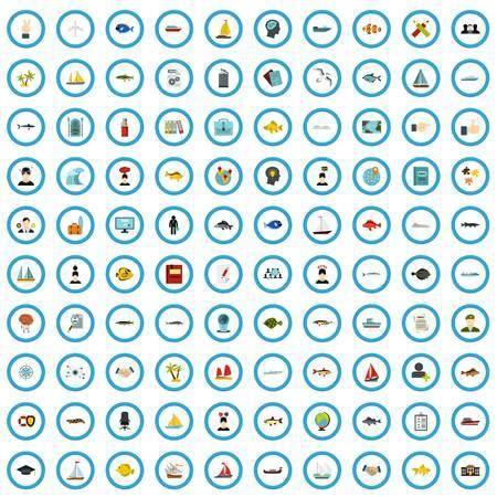 100 marine examination icons set, flat style Vektoros illusztráció