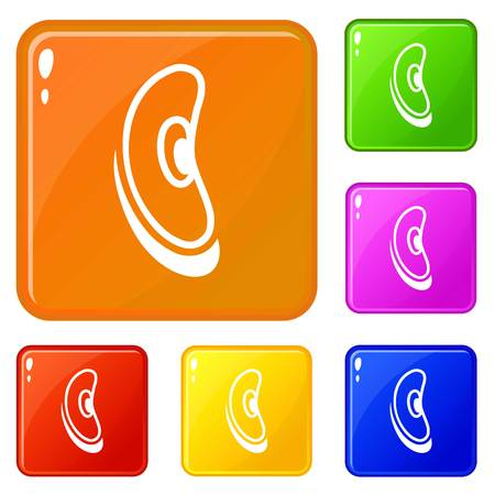 Jelly bean icons set vector color