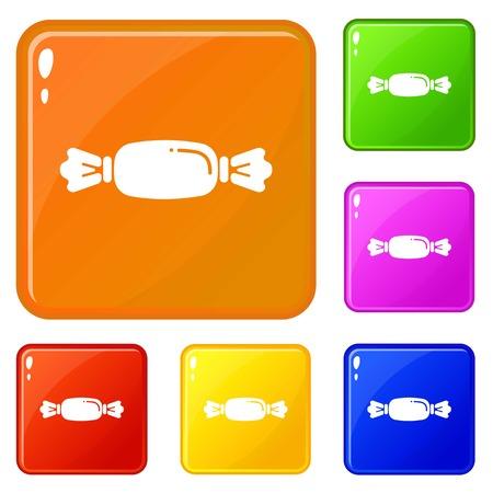 Bonbon icons set vector color Illustration