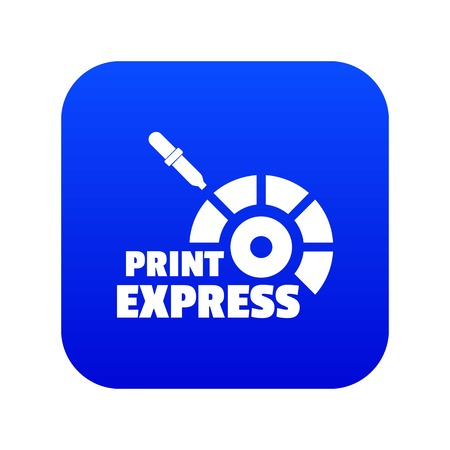 Print express icon blue vector Ilustrace