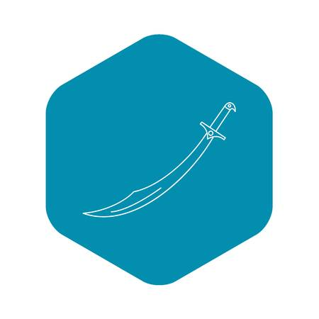 Arabian scimitar icon, outline style