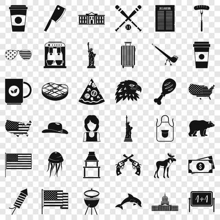 Usa icons set, simple style 일러스트