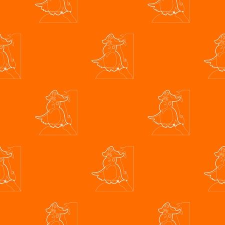 Pirate parrot pattern vector orange Illustration