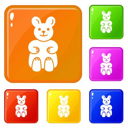 Candy bear icons set vector color Illustration