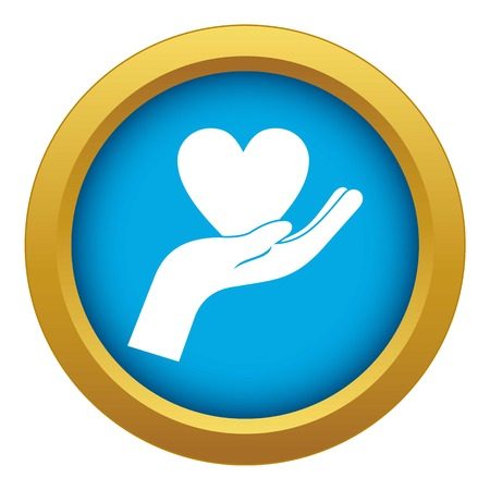 Hand holding heart icon blue vector isolated