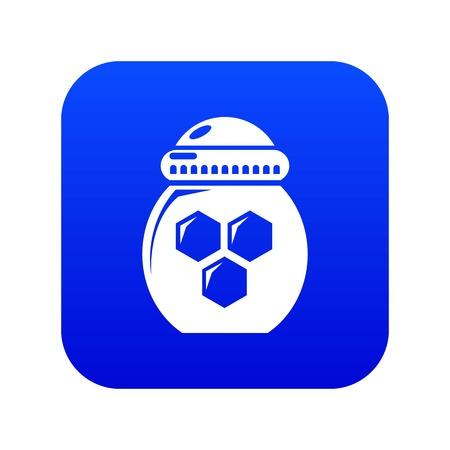 Jar honey icon blue vector