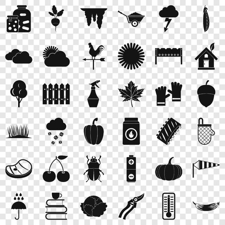 Vegetable icons set, simple style