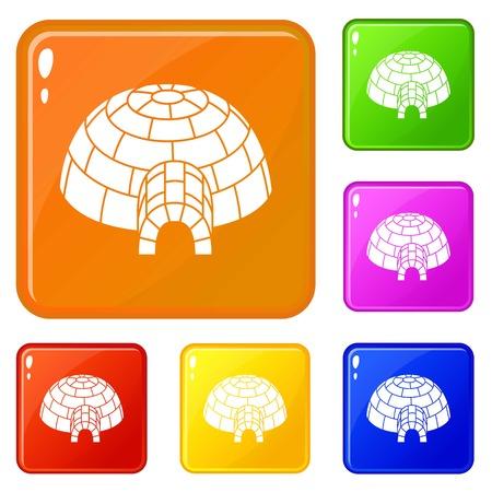 Alaska igloo icons set vector color