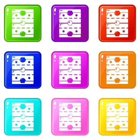 Hockey ice field icons set 9 color collection