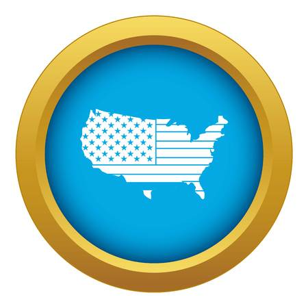American map icon blue vector isolated Illustration