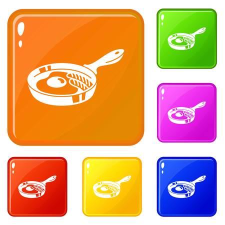Egg griddle icons set vector color