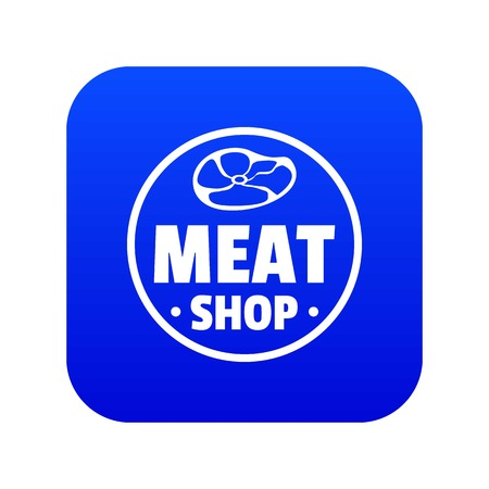 Modern meat shop icon blue vector