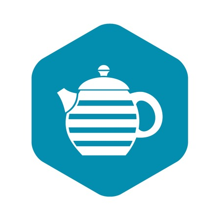 Striped teapot icon, simple style
