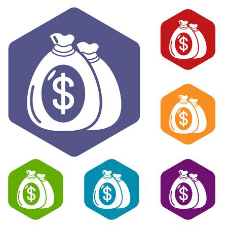 Money bag icons vector hexahedron