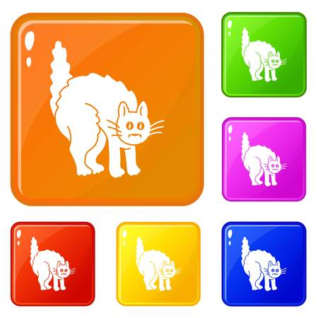 Scary black cat icons set vector color