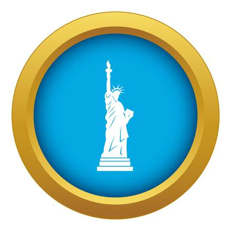 Statue of liberty icon blue vector isolated