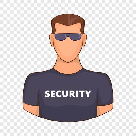 Security guard male icon, cartoon style Ilustração