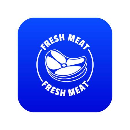Fresh meat icon blue vector