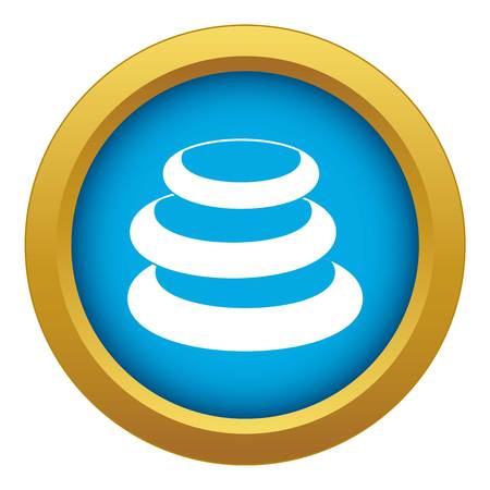 Stack of basalt balancing stones icon blue vector isolated Illustration